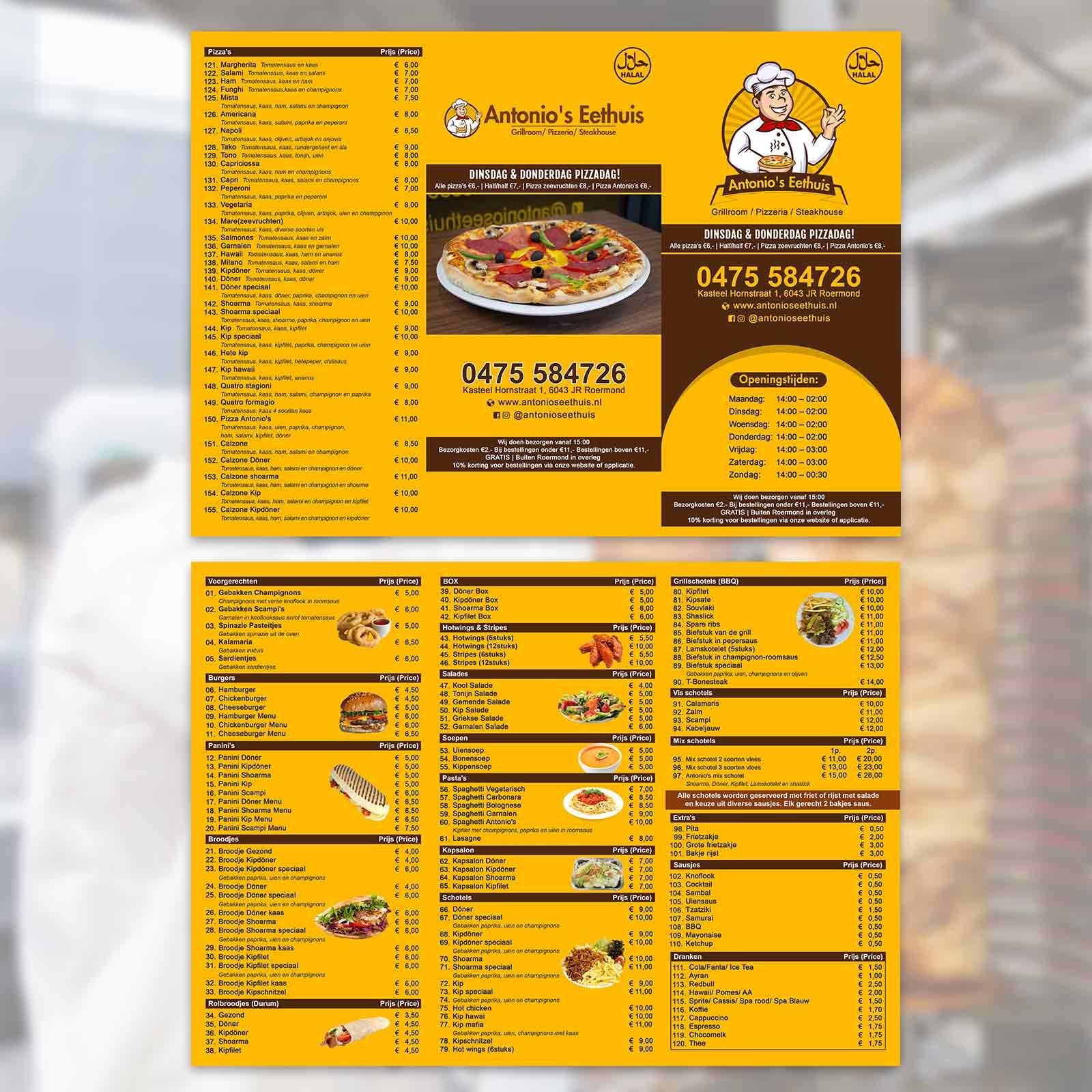 Antonio's eethuis menu | DesignMyLogo